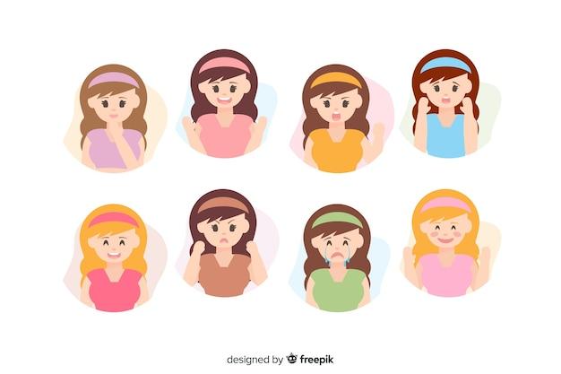 Иллюстрация молодых людей с разными эмоциями