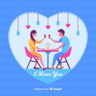 一緒に夕食を取っているカップルの素敵なイラスト