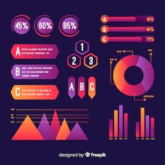 Коллекция градиента инфографики элементов