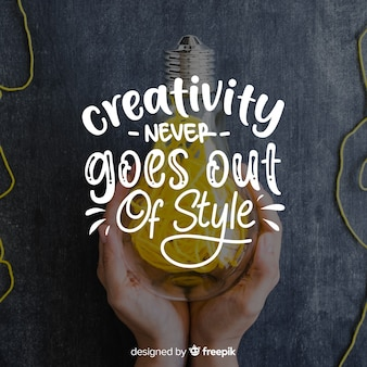 創造性の引用とデザインをレタリング
