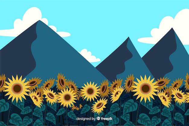 Иллюстрация красивый природный ландшафт с горами