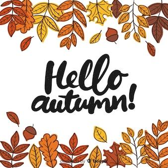 Привет осенняя надпись с листьями