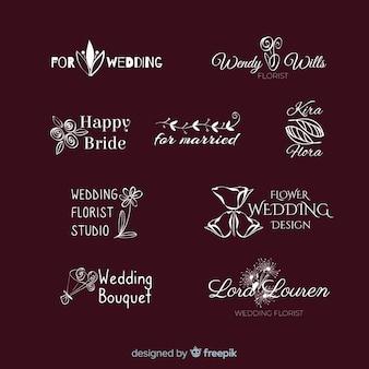 結婚式や花屋の美しくエレガントなロゴやロゴタイプ