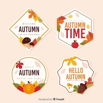 平らな秋のラベルのコレクション