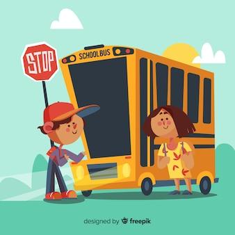 男の子と女の子が学校に戻ってバスに乗ってのイラスト