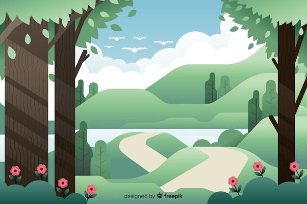 Плоский природный ландшафт с растительностью