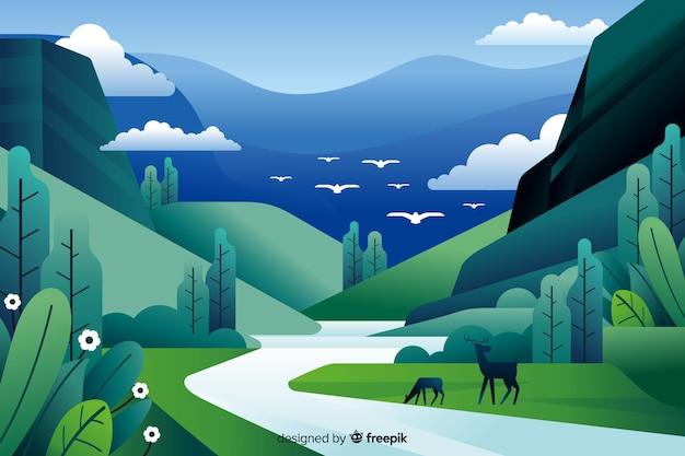 鹿と平らな自然の風景