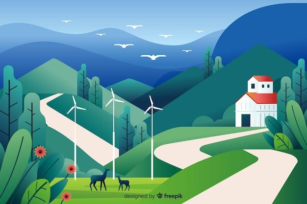 Ровный природный ландшафт с деревней