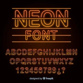 ネオンスタイルのアルファベットのフォント