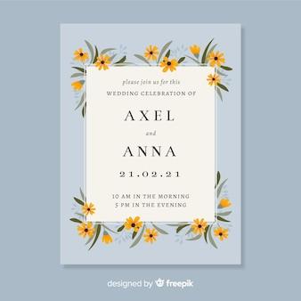 美しい花の結婚式の招待状カードのテンプレート