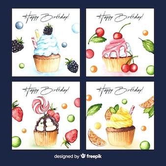 水彩風の誕生日カードコレクション