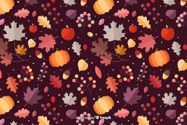 平らな秋の森の葉の背景