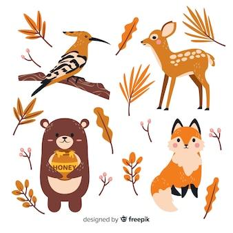 Коллекция рисованной осенний лес животных