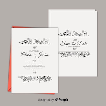 Шаблон свадебного приглашения с цветочным декором