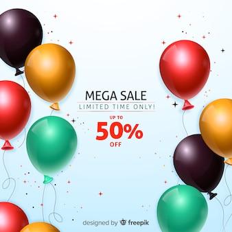 Фон продаж с реалистичными воздушными шарами