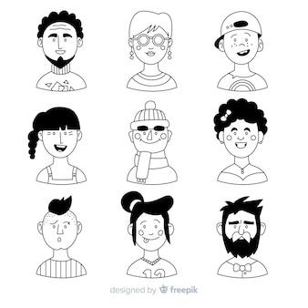 手描きの人々のアバターコレクション