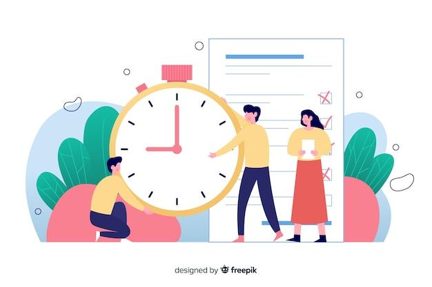 時間管理の概念とランディングページのイラスト