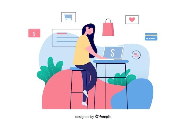 オンラインショッピングの概念とランディングページのイラスト