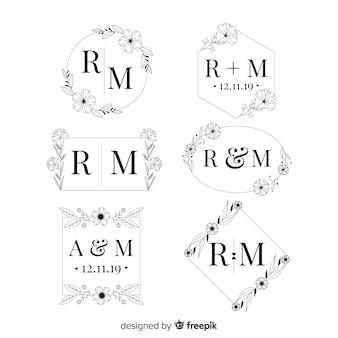 エレガントな結婚式のモノグラムロゴコレクション
