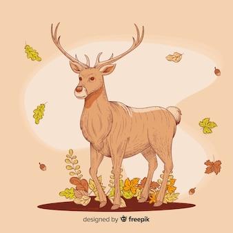 手描きの鹿と秋の背景