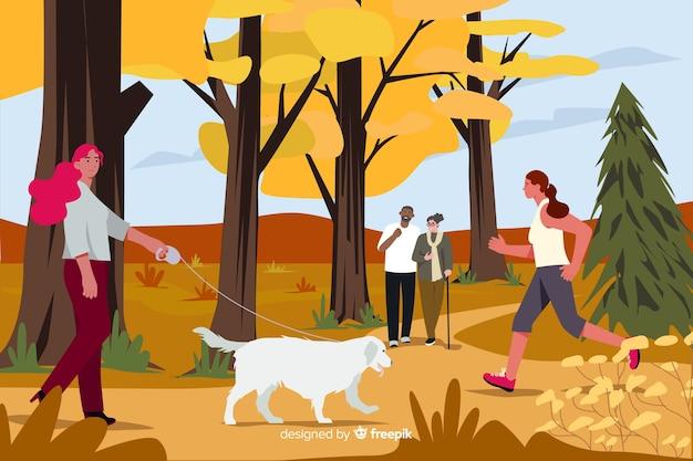 Иллюстрация людей в парке