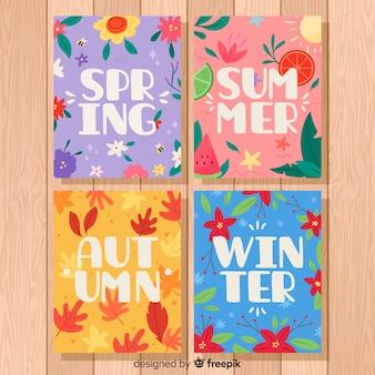 季節のポスターの手描きコレクション