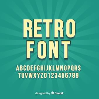 レトロなスタイルのアルファベットとフォント