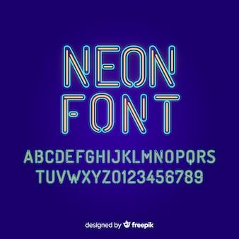 Шрифт с алфавитом в неоновом стиле