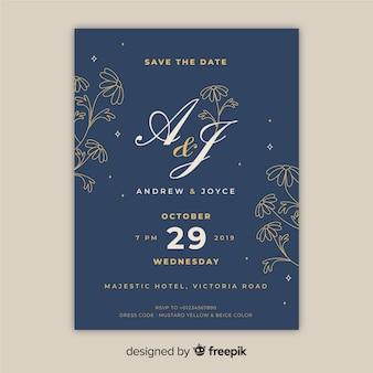 ビンテージ花の結婚式の招待状のテンプレート