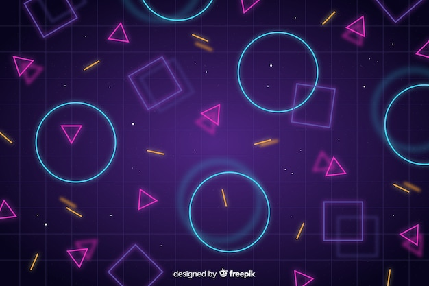 幾何学的なネオン図形と抽象的な背景