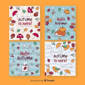 手描き秋カードテンプレートコレクション
