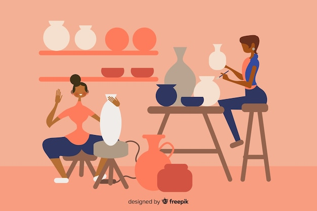 陶器のフラットなデザインを作る人々