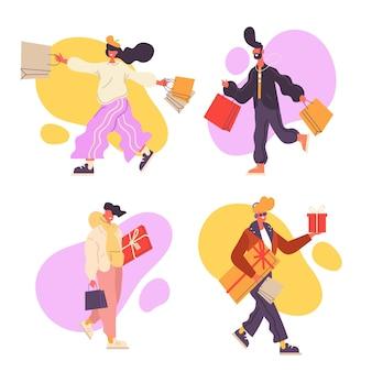 買い物袋を運ぶ人々のセット