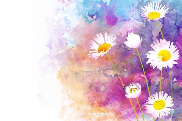 ヒナギクと水彩の自然の背景