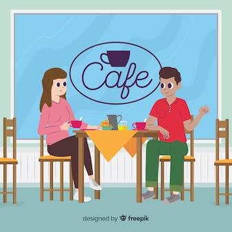 Иллюстрация людей, сидящих в кафе