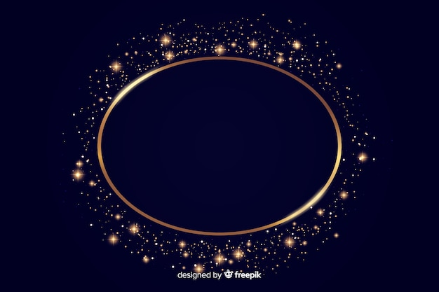 黄金の輝くラウンドフレームの背景
