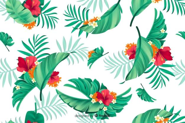 Естественный фон с тропическими цветами