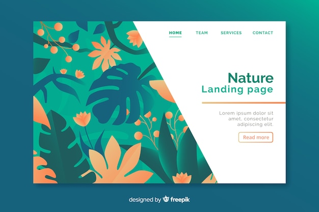 花と自然のランディングページ