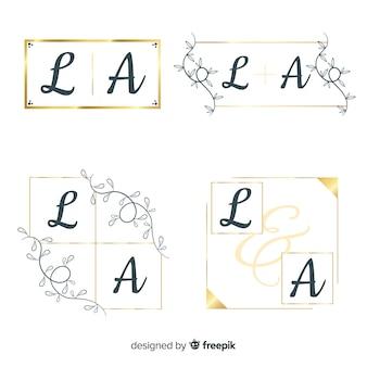 Свадебный монограмма логотип шаблонов коллекции