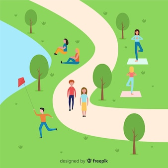 公園の人々のイラスト