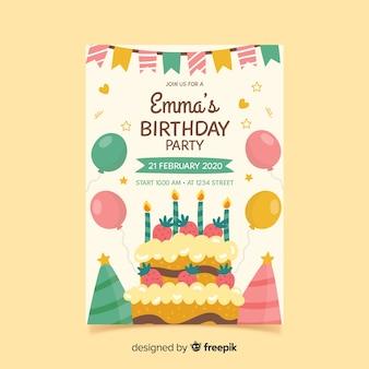 誕生日の招待状のテンプレートを手書きスタイル