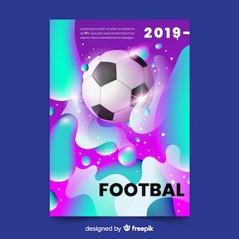 リアルなグラデーションサッカーポスターテンプレート
