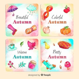 水彩秋カードテンプレートコレクション
