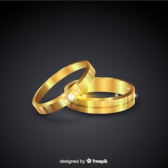現実的なスタイルの黄金の結婚指輪