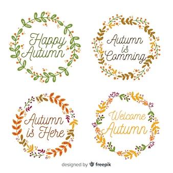 Осенняя коллекция значков в стиле акварели