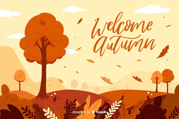 平らな秋の風景の背景