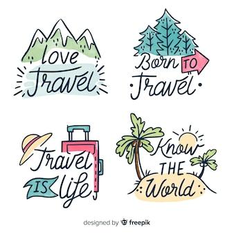 Ручной обращается значки надписи путешествия