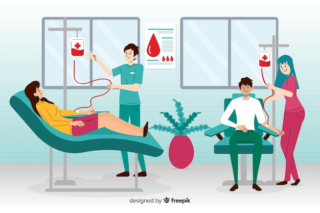 Иллюстрация людей, сдающих кровь