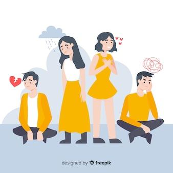 さまざまな感情を持つ若い人たちのイラスト