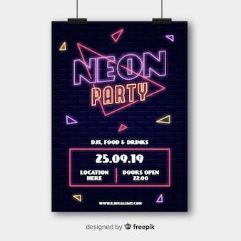 Шаблон плаката фестиваля неоновой музыки